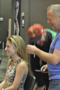 Anthony & Paul consulting with model...going to be a fiery redhead!